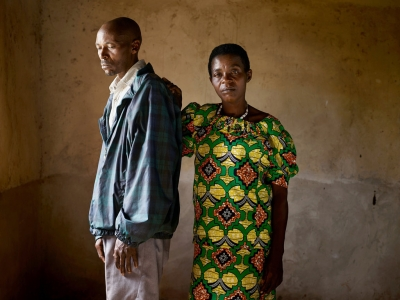 Jean-Pierre Karenzi (perpetrator, left), Viviane Nyiramana (survivor, right)